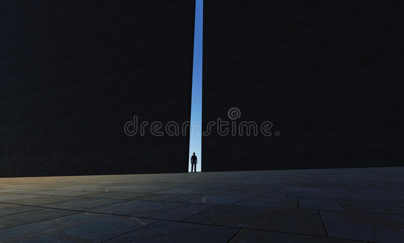 A lonely person walking through royalty free illustration