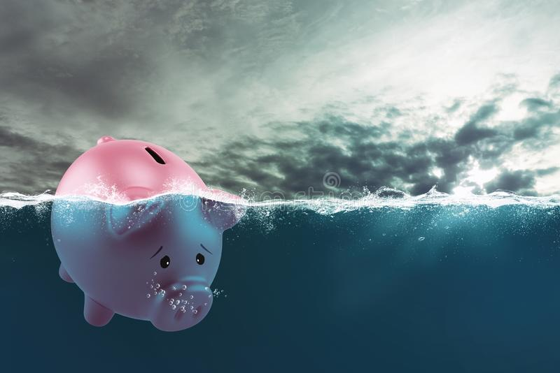 Lonely piggy bank sails in bad waters due to the crisis royalty free stock photo