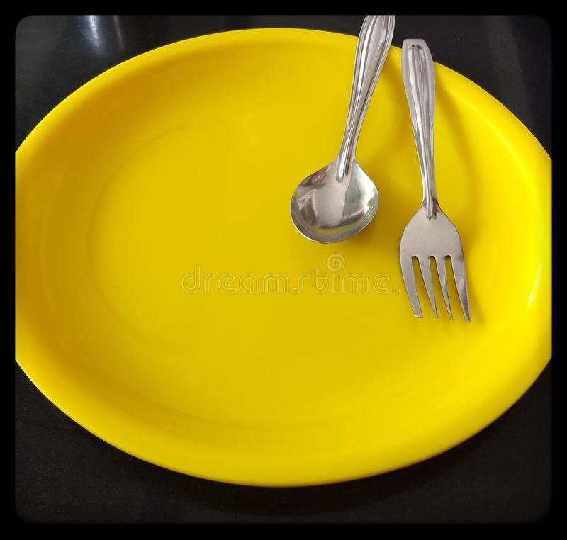 Lonely plates stock photography