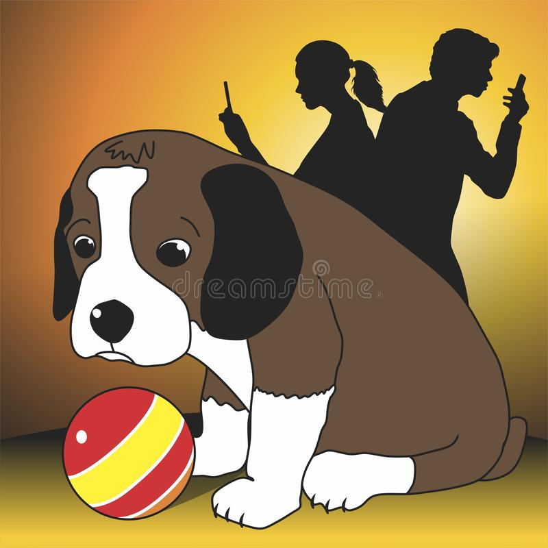 Lonely puppy. And people engaged in social networks. Vector format vector illustration