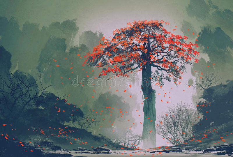 Lonely red autumn tree winter forest. Lonely red autumn tree with falling leaves in winter forest,landscape painting stock illustration