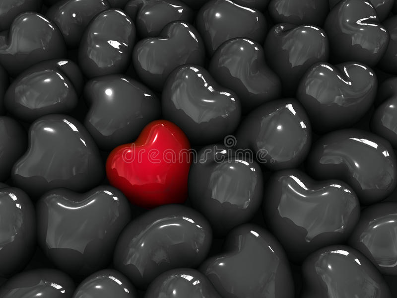 Lonely red heart . Lonely red heart among black hearts royalty free illustration