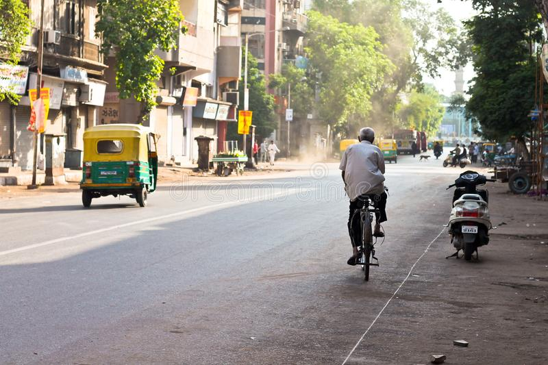 Lonely ride in the heart of the city - india stock images