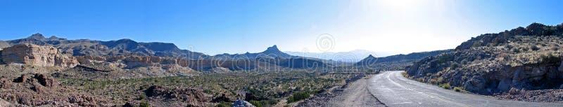 Lonely road. This panoramic was taken near Oteman, AZ royalty free stock image