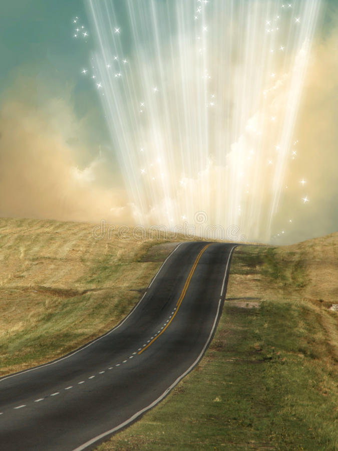 Lonely road. With magic light royalty free illustration