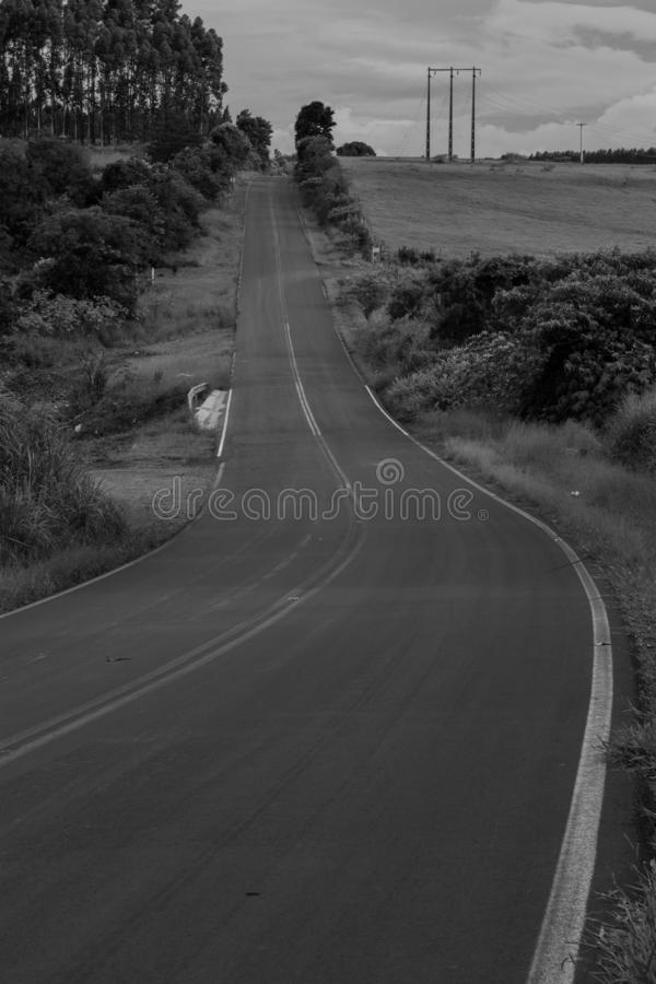 Road in black and white royalty free stock photo