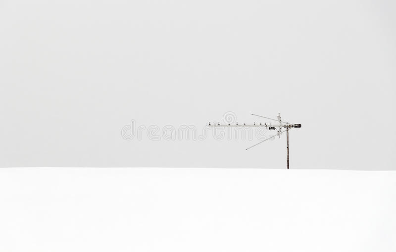 Lonely roof antenna royalty free stock images