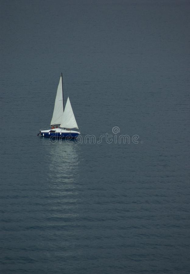 Lonely Sail Boat At The Sea Of Montenegro Stock Photo