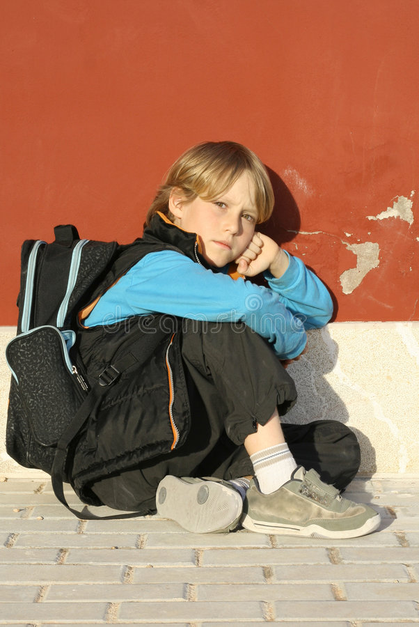 Download Lonely school boy stock photo. Image of confused, growing - 848314