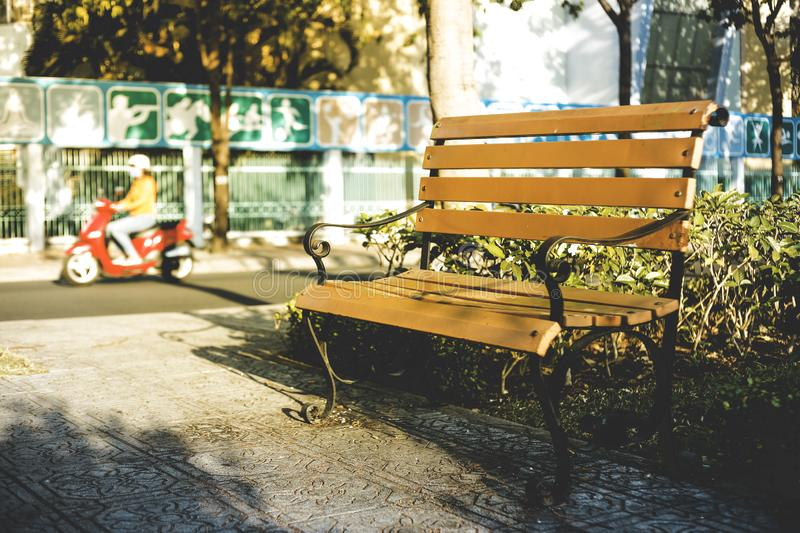 Lonely Seat in a Park. A seat for retirement, a seat for lonely people, a seat for all of us royalty free stock photo