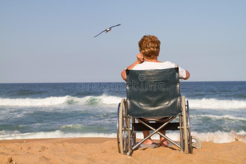 Lonely senior woman stock photo
