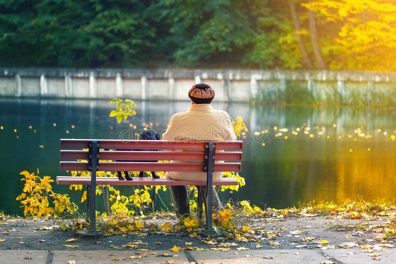 Lonely senior woman with a small black dog sitting on a bench by the autumn lake or river in a city park. Relaxation stock photos