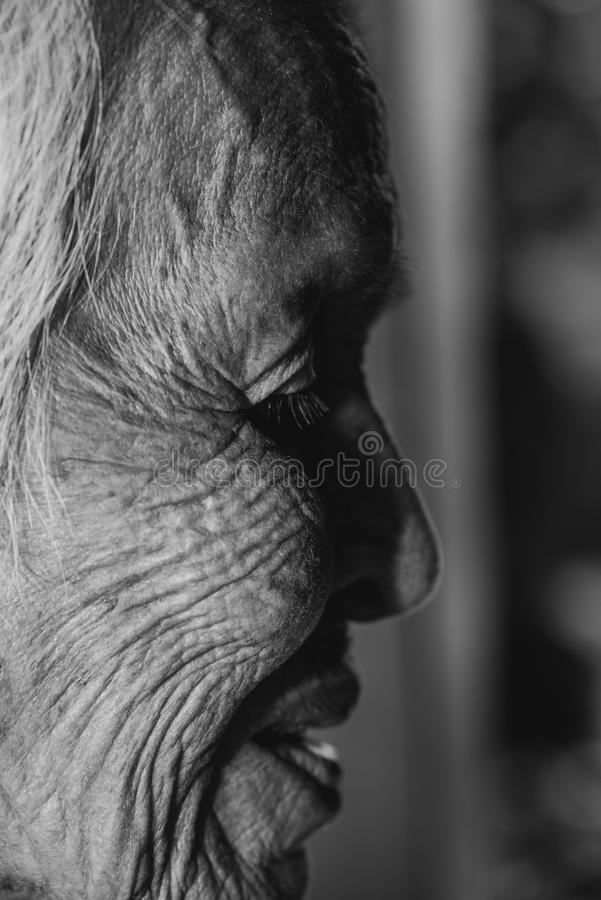 The old woman`s felling lonely. ,she`s senior woman in family and the elderly. royalty free stock photography