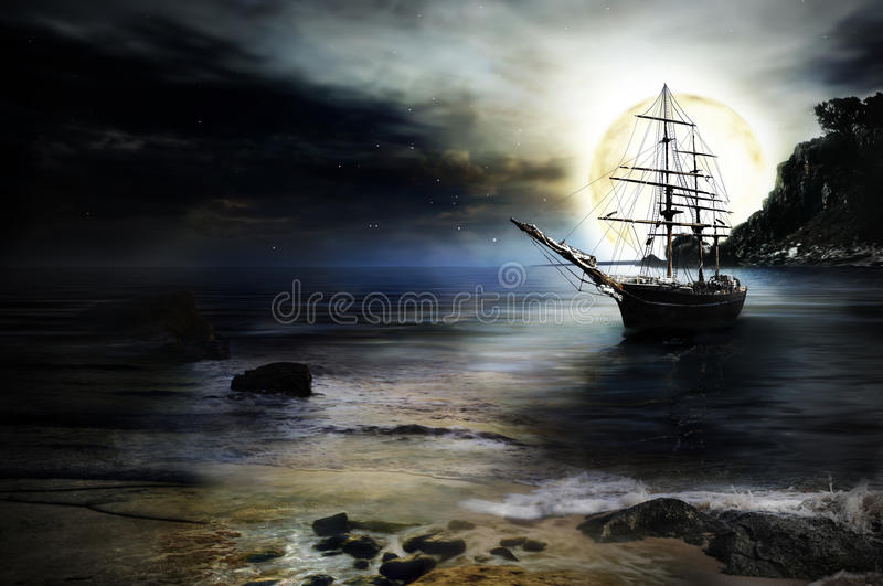 'Lonely ship' background vector illustration