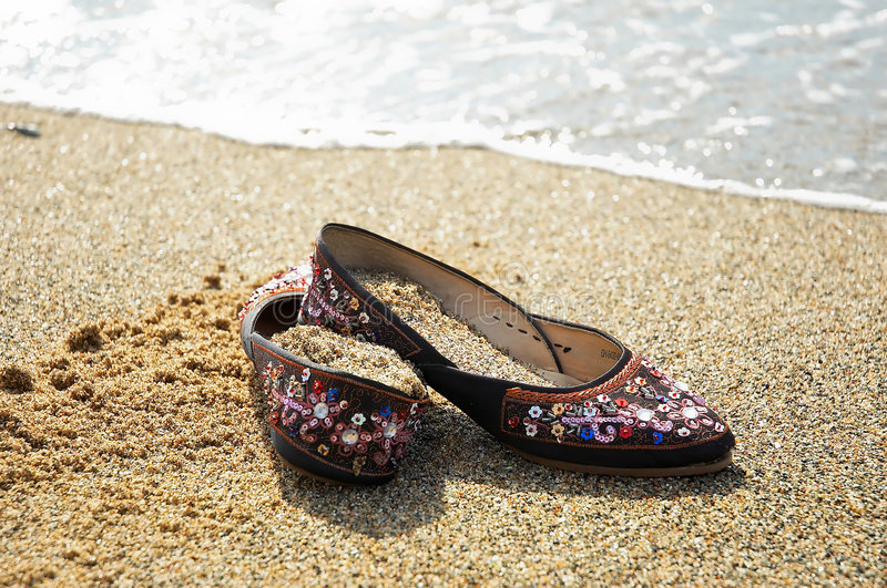 Download Lonely shoes stock photo. Image of sunny, shoes, beach - 2322496