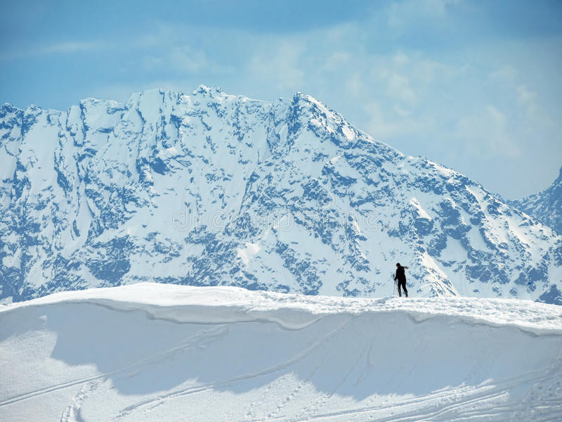 Download Lonely skier stock image. Image of single, snow, climbing - 17887255