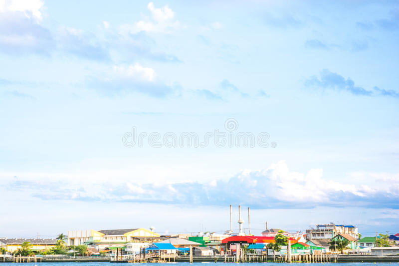 Lonely sky village. Way of life in the country of thailand royalty free stock image