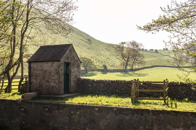 Lonely small house in the Peak District stock images