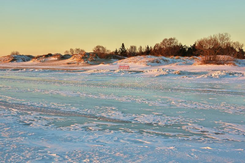 Lonely small red bench in dunes on cold winter evening with view from frozen sea stock photography