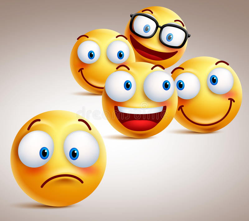 Lonely smiley face vector character concept with group of funny faces of friends. At the back. 3D realistic vector illustration royalty free illustration
