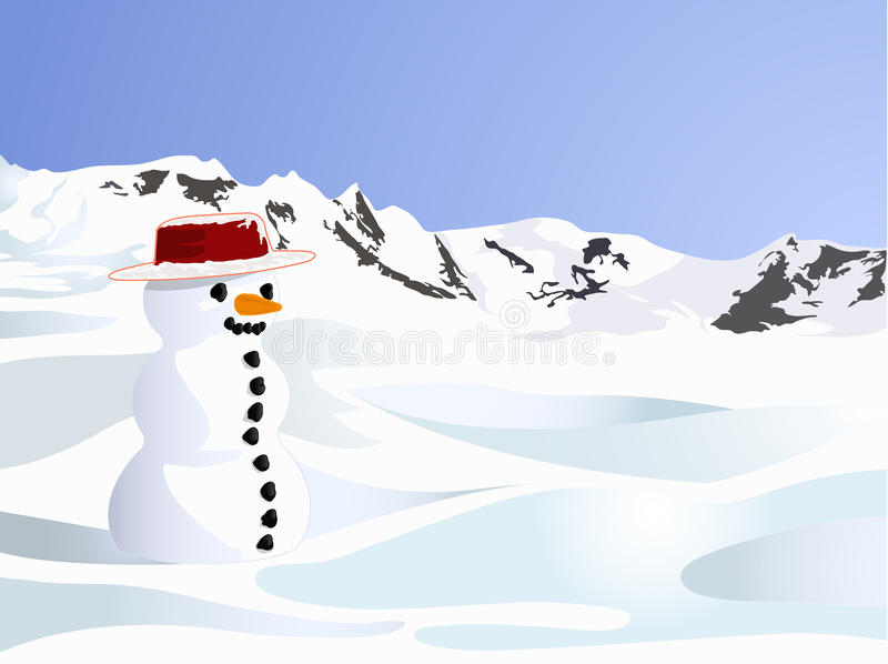 Lonely snow doll on the snow hill royalty free stock image