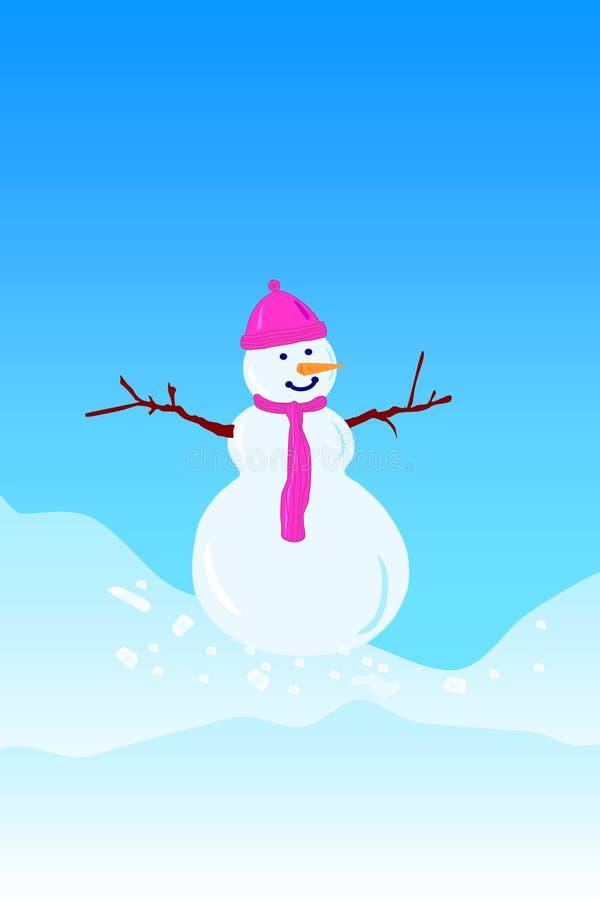 lonely snowman stock illustration