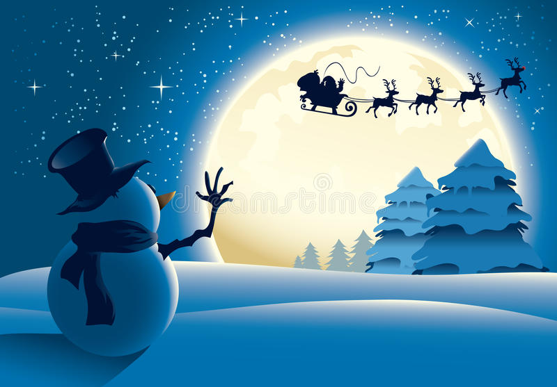 Lonely Snowman Waving to Santa Sleigh. With a big full moon background stock illustration