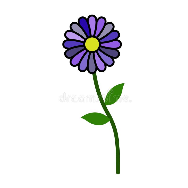 Lonely standing flower without stroke isolated on white background. New, 2019 stock illustration