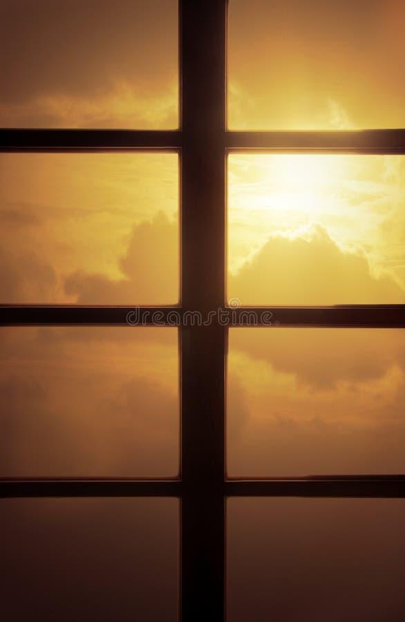 Lonely Sunset. Sunset Scene Behind Glass Window stock photos