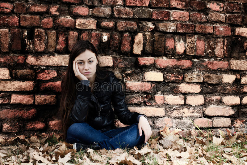 Lonely Teenage Girl Royalty Free Stock Photos