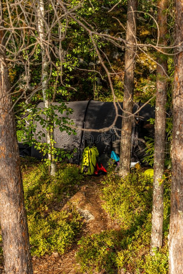 A lonely tent in the wild forest on the shore of the Saimaa lake stock photography
