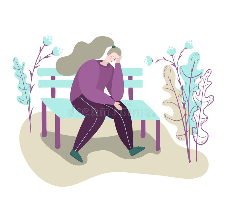 A lonely tired sad woman sits depressed on a bench in a park. Sad thoughtful woman. Isolated flat trendy cartoon modern style vector illustration