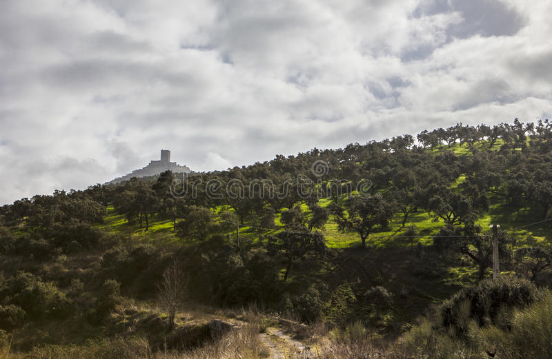 Lonely track road to Feria Castle Hill, Extremadura. Spain royalty free stock images