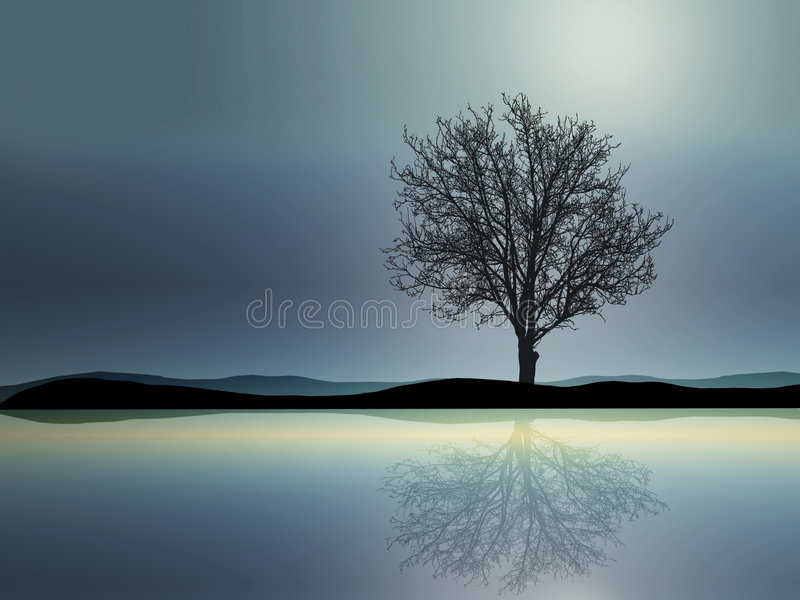 Download Lonely tree stock illustration. Illustration of magic - 5840647