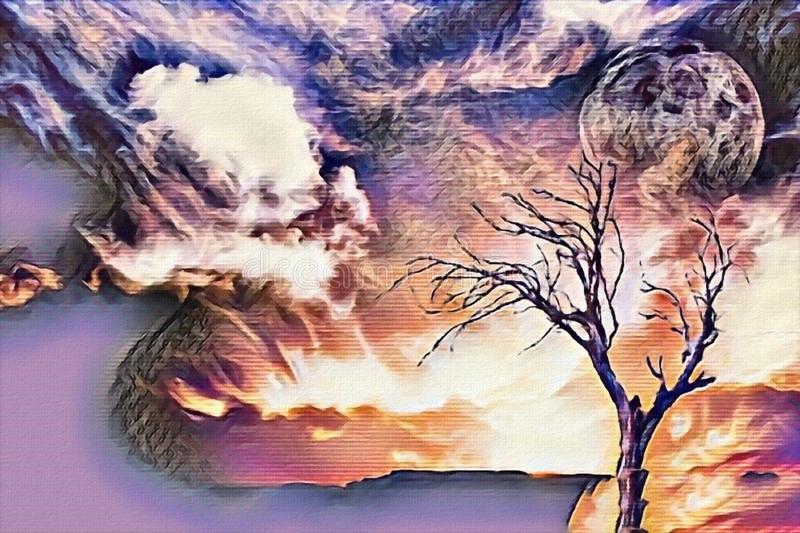 Lonely tree. Abstract painting in purple colors. Lonely tree, full moon in cloudy sky stock illustration