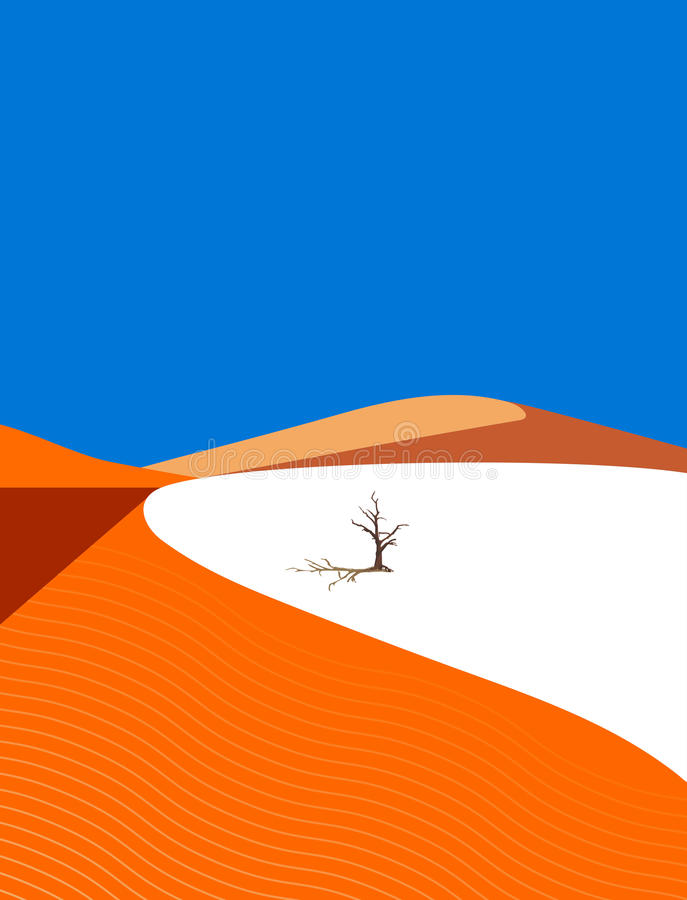 Lonely tree in the desert. On dune background vector illustration