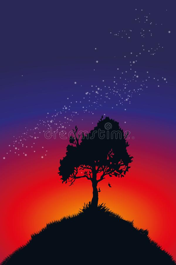 Lonely tree in front of a starry sky. With stars vector illustration