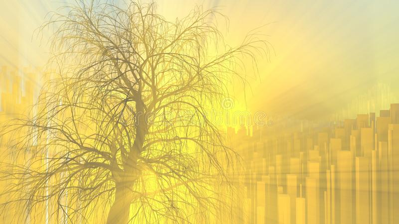 Lonely tree without leaves in fog or mist lit by bright orange sun god rays over city background. 3d illustration vector illustration