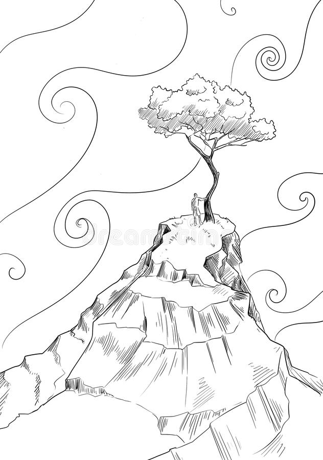 Lonely tree and magical sky. Lonely tree on the mountain top against magical sky with curly clouds. Digital art stock illustration