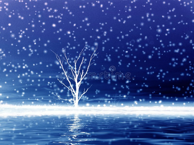 Lonely tree in snow. stock illustration
