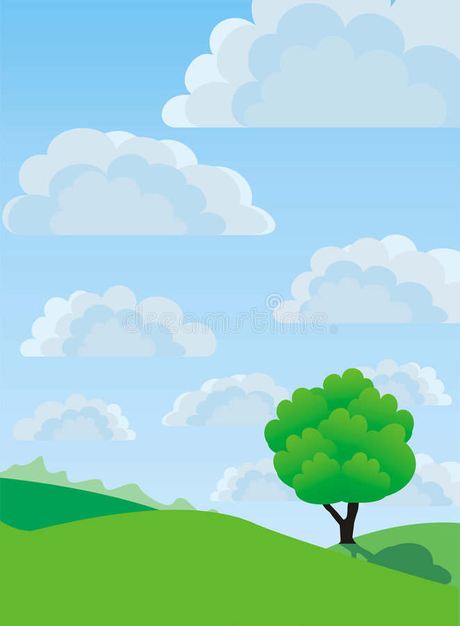 Lonely tree, vector royalty free stock photography