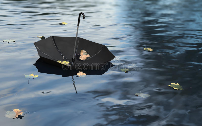 Umbrella on the Water Surface stock images