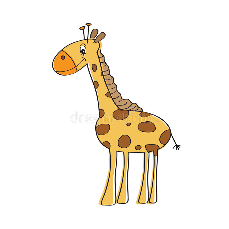 Lonely vector giraffe. Isolated on white background royalty free illustration