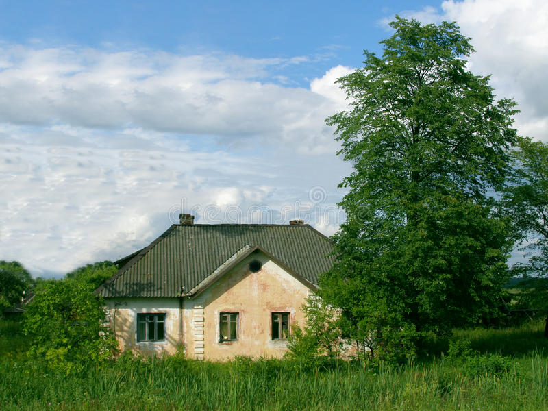 Lonely village house. In abandoned settlement stock photography