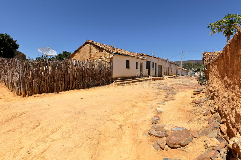 Lonely village Queixo Dantas in the Caatinga of Brazil. The Lonely village Queixo Dantas in the Caatinga of Brazil stock photo