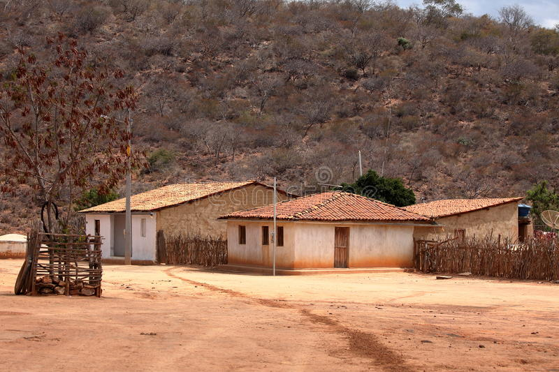Lonely village Queixo Dantas in the Caatinga of Brazil. The Lonely village Queixo Dantas in the Caatinga of Brazil royalty free stock photos