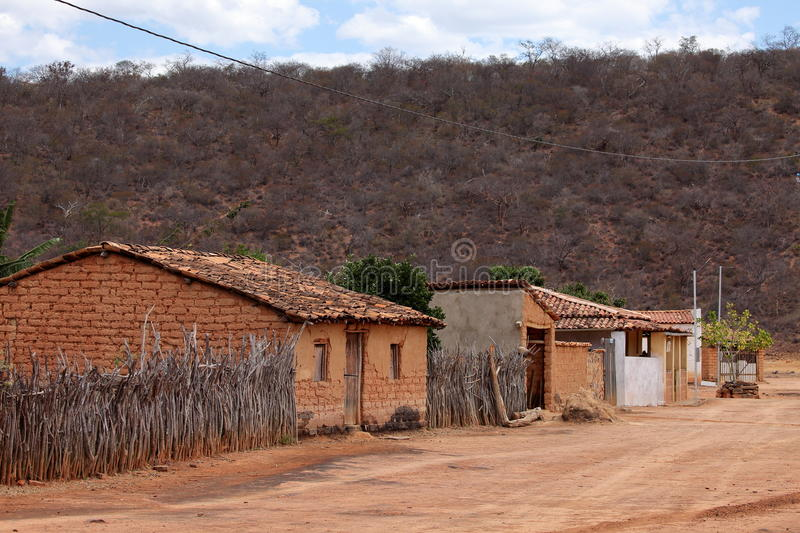 Lonely village Queixo Dantas in the Caatinga of Brazil. The Lonely village Queixo Dantas in the Caatinga of Brazil stock images