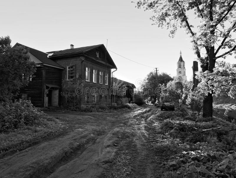 A lonely village. Russia. Black and white. A lonely village. Russia. The beauty of ancient Russian cities. Black and white stock photo