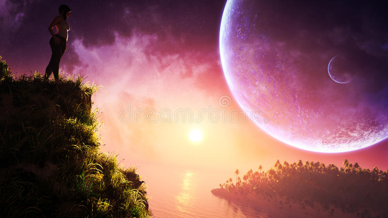 Lonely Woman On Fantasy Landscape. A lonely woman standing on top of hill in a fantasy type of landscape environment with view of sea, sky, planets, stars vector illustration