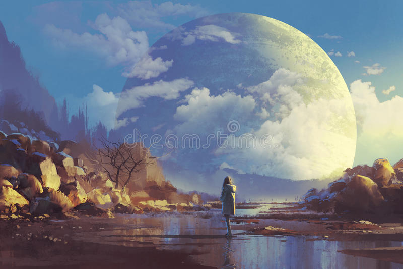 Lonely woman looking at another earth. Scenery of lonely woman looking at another earth, illustration painting royalty free illustration